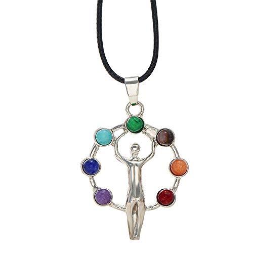 Chakra Necklace,WoCoo Chakras Gemstone Crystal Quartz Stone Healing Point Reiki Chakra Pendant Necklace