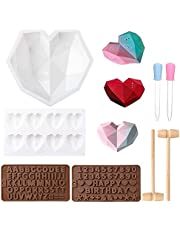 Harrianna Silicone Heart Diamond Upgrade Mold,with Birthday Numbers Mallet and Dropper can Make Cakes Candy soap Also Suitable for Valentine's Day