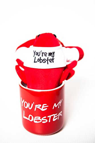 """Friends Mug and Plush – You're My Lobster Stuffed Animal and Mug – Cool TV Props – Ross and Rachel Friends TV Show Memorabilia – Red 12oz. Mug, Red 8"""" Plush Lobster with White Tee"""