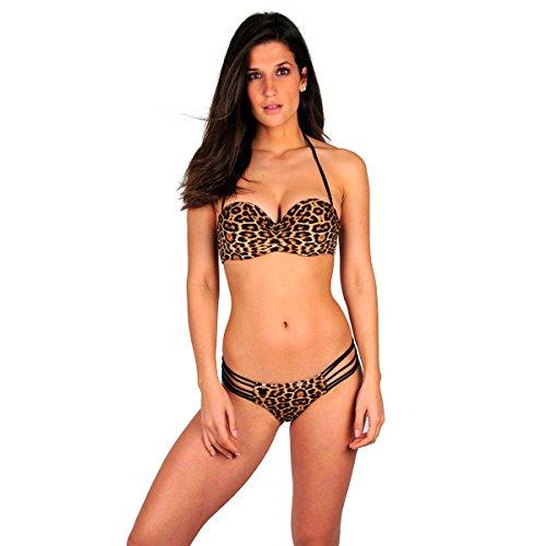 Mi braga clásica Itsy Bikini leopardo y negro Negro