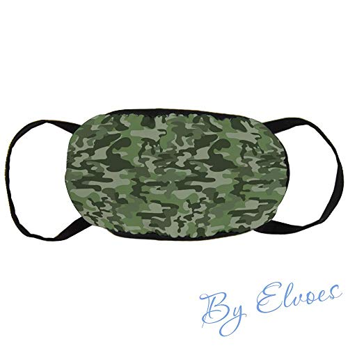 Mouth Masks Dust Face Mask Abstract Pattern in Green Shades Camouflage Classical Uniform Illustration Unisex Adjustable Anti Dust Mask Perfect for Cycling Camping Travel, Cotton
