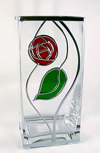 Charles Rennie Mackintosh Style Rose and Leaf Design Square Vase, 22 cm. Art Deco