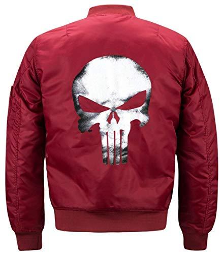 Cráneo Vuelo Modelado Collar Lino Chaqueta Jacket De Jacket Hombres De Acolchado 1 Flight Rot De Manga Chaqueta De Los Bombardero De Delgado Larga Chaqueta T7awaxUqSf