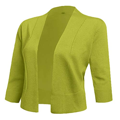 AAMILIFE Women's 3/4 Sleeve Cropped Cardigans Sweaters Jackets Open Front Short Shrugs for Dresses (Small, 14-Lime) ()