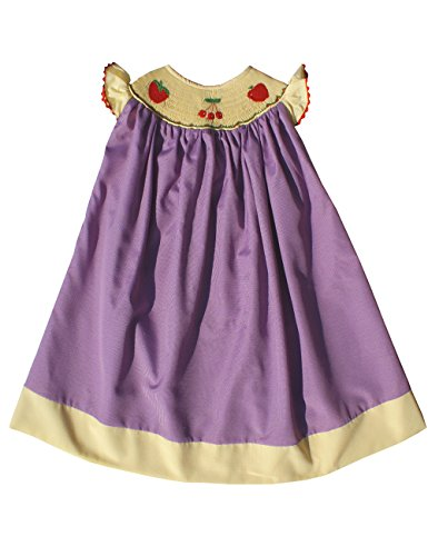 Hand Smocked Apples and Cherry Angel Wing Summer Bishop Dress (Apple Smocked)