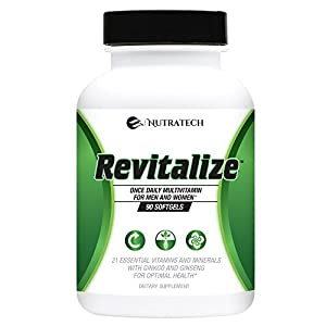 Revitalize – Powerful One A Day Multivitamin for Men and Women with 21 Essential Nutrients and Minerals for Optimal Health with Ginkgo and Ginseng.