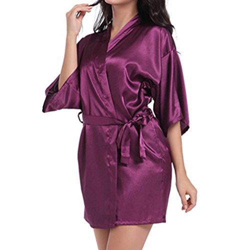 Camicia Juleya Robe da le notte per Sleepwear Accappatoio Kimono donne Scuro Bride Viola Rayon Wedding Satin YYRBrnA