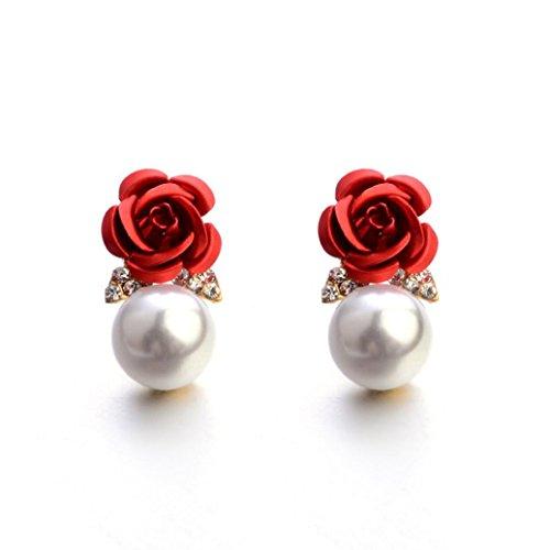 Auwer 2019 Stud Earrings, Fashion Jewelry Bohemia Flower Rhinestone Earrings for Women Summer Style (Red) ()