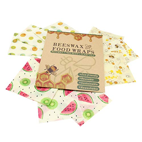 Reusable Beeswax Food Wrap,Eco Friendly Sustainable Food Storage,Organic  Natural Wax Alternative to Cling Film and Plastic Wrap,Washable Stretch