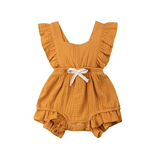 Willow Dance Newborn Baby Girl Romper Bodysuits Cotton Flutter Sleeve One-Piece Romper Outfits Clothes (Khaki, 0-3 Months)]()