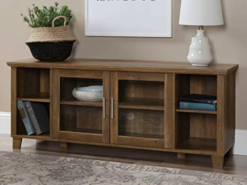 Offex Decorative Painted Metal TV Stand with Middle Doors - Rustic Oak