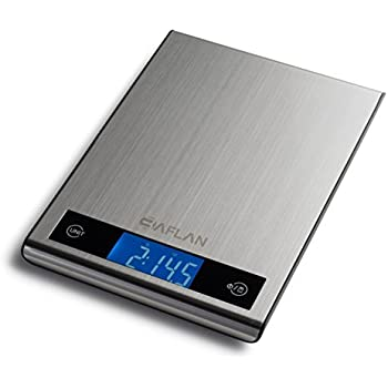 Baflan Stainless Steel Digital Kitchen And Food Scale, LCD Display with Blue Backlit - Anti-Finger Proof Feature