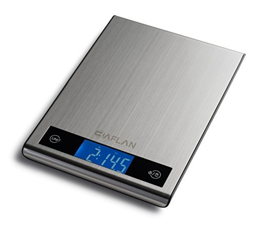 Digital Multifunction Kitchen and Food Scale, Stainless Steel Silver, with LCD Display by Baflan - 11lb 5kg (3 AAA Batteries Included)