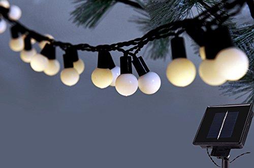 C-Hopetree 20ft 40 LED Solar String Lights Garden White Ball LED Bulbs Waterproof Decorative Christmas Lights(Warm (Large Bulb String Lights)