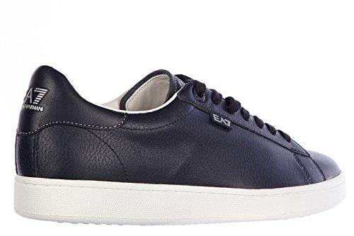 Emporio Armani EA7 zapatos zapatillas de deporte hombres en piel nuevo classic blu
