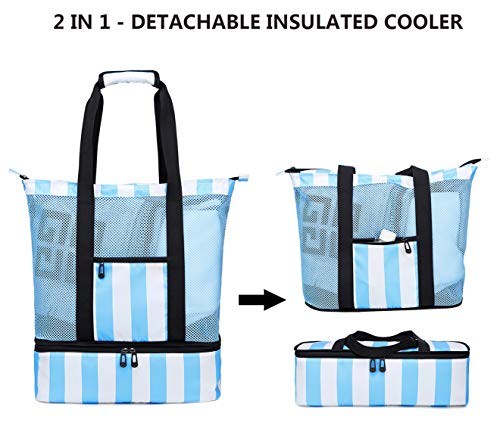 a218092a473f Mesh Beach Tote Bag with Cooler Compartment Insulated Detachable ...