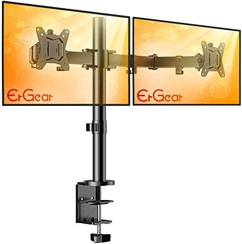 """ErGear 17-32"""" Dual Monitor Stand Mount, Heavy-Duty Fully Adjustable Desk Clamp Arms for Computer Screens, Loads as much as 17.6lbs according to arm w/Swivel and Tilt, 75/100mm VESA, Black - EGCM1"""