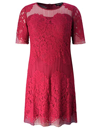 Chicwe Women's Plus Size Lined Floral Lace Dress - Knee Length Casual Party Cocktail Dress 3X
