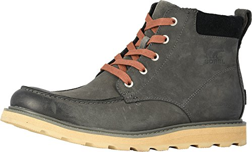 SOREL - Men's Madson Moc Toe Waterproof Boot, All-Weather Footwear for Everyday Wear, Grill, Black, 8.5 M US ()