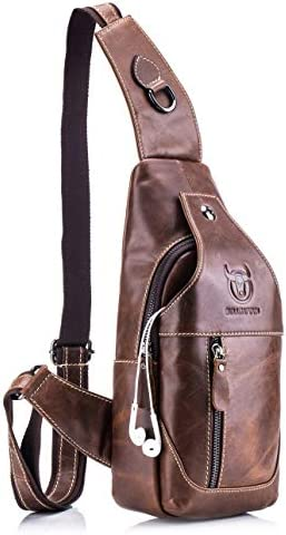 Men's Sling Bag Genuine Leather Chest Shoulder Backpack Lightweight Casual Crossbody Bags Hiking Outdoor Daypacks brown