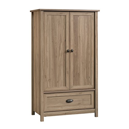 Sauder 419458 Armoire, Wardrobe, Furniture County Line, Salt Oak - Bedroom Metal Armoire