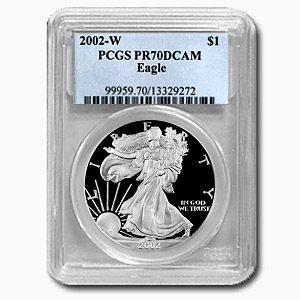 2002-W (PROOF) Silver American Eagle – PR-70 DCAM PCGS