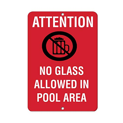 Attention No Glass Bottles On Deck Activity Sign Pool Signs Metal Tin Sign Outdoor Decor Aluminum Sign for Garage Driveway