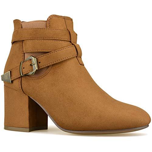 Premier Standard - Women's Strappy Buckle Closed Toe Bootie - Low Heel Casual Comfortable Walking Boot Premier Camel Suede