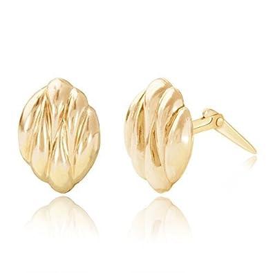 cc93c5c67 9ct yellow gold curved coffee bean Andralok stud earrings / Gift box:  Amazon.co.uk: Jewellery