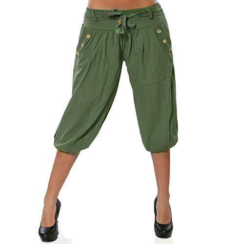 TIMEMEANS Classic Pants Women Low Waist Boho Check Baggy Wide Leg Casual Yoga Capris Pant Army Green