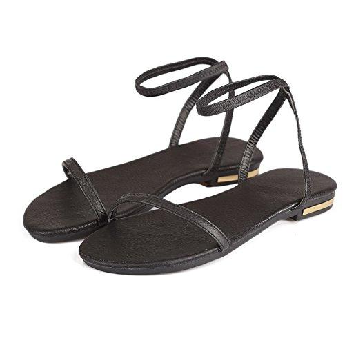 AllhqFashion Mujeres Puntera Abierta Mini Tacón Sin cordones Sólido Sandalias de vestir Negro