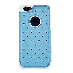 Mini - Hybrid Rugged Rubber Bling Crystal Silicone and PC Hard Case for iPhone 5C , Color: Blue