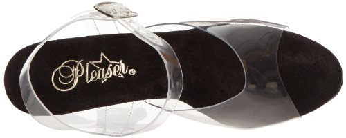 Pleaser DELIGHT-608 - sandalias para mujer, color clear/black, talla 40