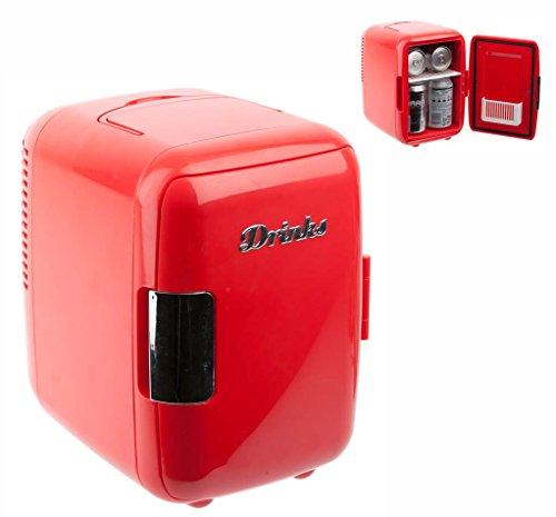 Mini réfrigérateur rouge 6 cannettes secteur et allume cigares
