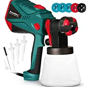 #LightningDeal Scuddles Paint Sprayer, 1200 Watt High Power HVLP Home and Outdoors Includes 5 Nozzle, Lightweight, Easy Spraying and Cleaning