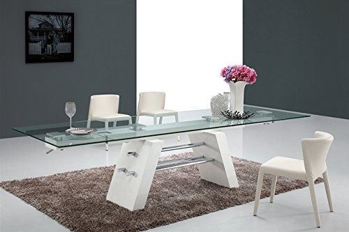 Extending Modern Glass Conference Table with Unique White Lacquer & Chrome Base