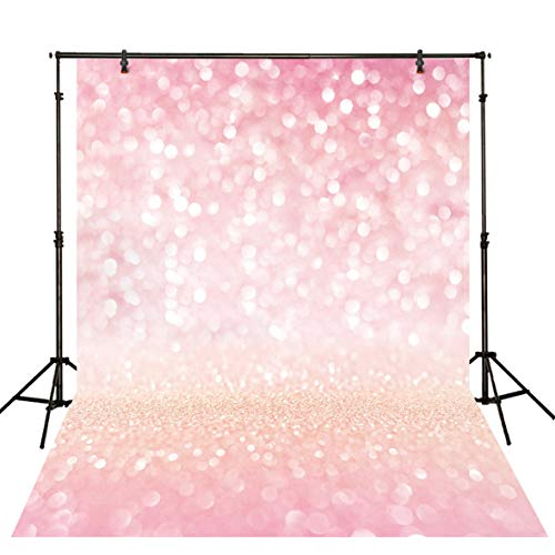 Funnytree 5x7ft Durable Fabric Pink Bokeh Spots Backdrop (No Glitter) No Wrinkles Shiny Sparkle Sand Scale Halos Photography Background Sequin Newborn Baby Portrait Photobooth Photo Studio -