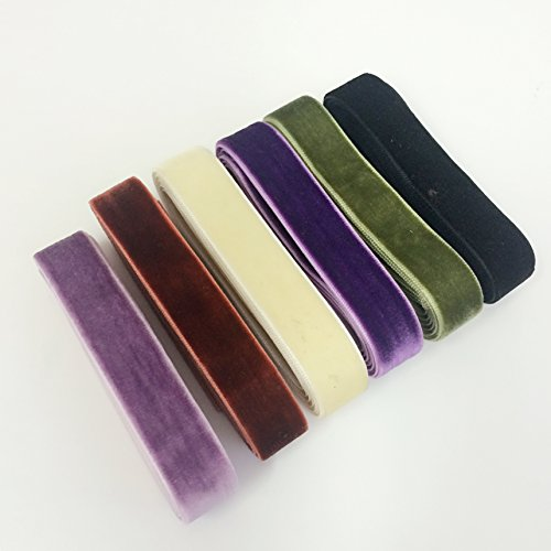 PEPPERLONELY 6 Color Set (1 Yard Each) Single Face Velvet Ribbon, 16mm (5/8 Inch)