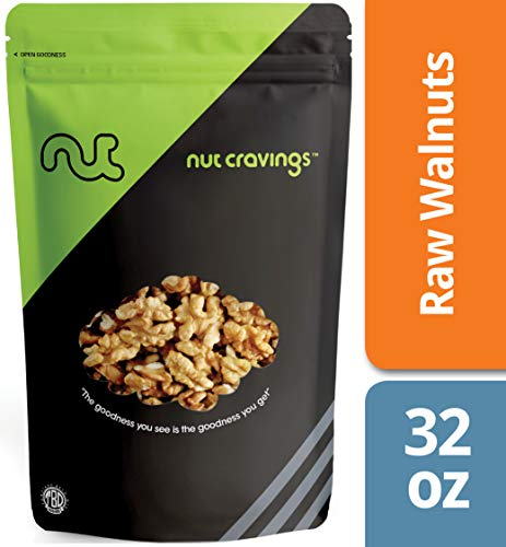 Nut Cravings California Raw Walnuts (2 Pounds) – 100% All Natural Shelled Halves and Pieces – 32 Ounce