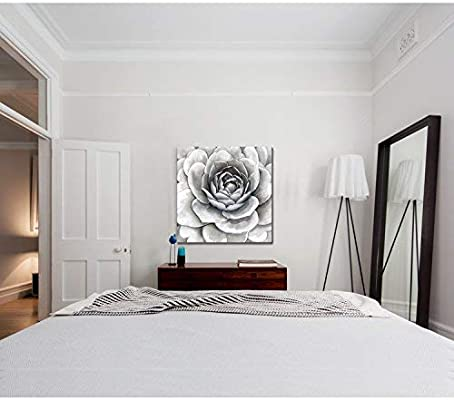 3Hdeko - Bathroom Wall Decor Gray Flower Wall Art Large Floral Painting for  Teen Girls Bedroom Living Room, Modern Grey White Picture Canvas Prints, ...