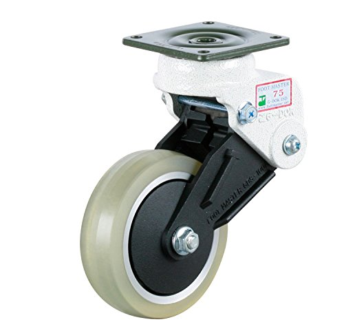 FOOTMASTER-GDS-100-ASF-LUD-4-Diameter-Polyurethane-Shock-Absorbing-Top-Plate-Caster-Swivel-Two-Precision-Bearing-6-14-Mounting-Height-Square-Plate-2-78-x-2-78-Bolt-Holes-2-14-x-2-14-220-lb-Capacity-Ra