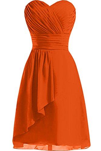 Sunvary mujer a-line Sweetheart gasa corto fiesta vestidos dama de honor con pliegues naranja