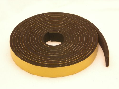 "NEOPRENE RUBBER Self Adhesive Strip : 1"" wide x 5/16"" thick x 16 feet long"
