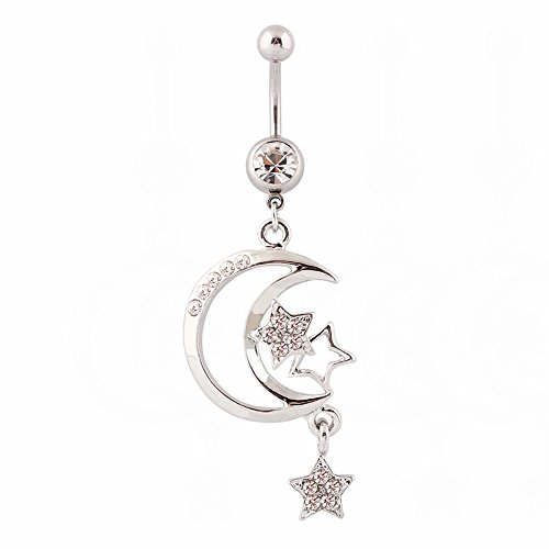 WOWOHE Belly Button Rings, Crystal Moon&Star Dangle Belly Rings Navel Rings Surgical Steel