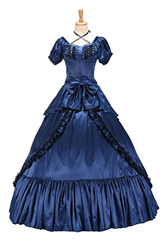 XOMO Victorian Southern Belle Gothic Dress Ball Gown Halloween Prom Lolita Costume Blue S -