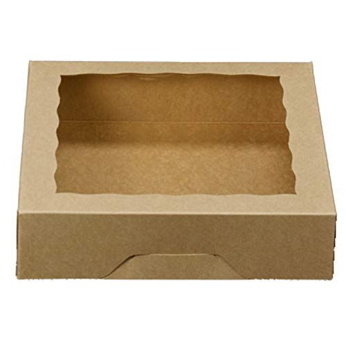 ONE MORE 10inch Natural Kraft Bakery Pie Boxes With PVC Windows,Large Cookie box 10x10x2.5inch 12 of Pack (Brown,12) (Baking Boxes)