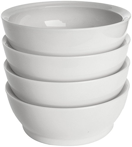 CaliBowl Non-Spill 28-Ounce Low Profile Bowl with Non-Slip Base, Set of 4, - Bowl Low
