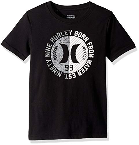 (Hurley Boys' Big Icon Graphic T-Shirt, Black/White/Grey,)