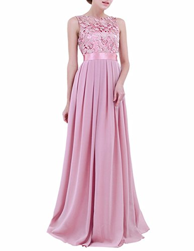 FEESHOW Women's Floral Lace Appliques Chiffon Wedding Bridesmaid Long Dress Prom Evening Gowns Plum 16