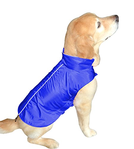 Downtown Pet Supply Water Resistant Dog Jacket, Fleece Lined, Warm, Dog Accessory, for Small, Medium & Large Pet Dogs (Blue, Medium) -
